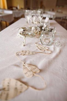 Use the Music Sheets for your first dance, cake cutting dance, mother/son and father/daughter dance, etc. as a table decoration. Wedding Blog, Diy Wedding, Wedding Ideas, Music Decor, Wedding Table Decorations, Vintage Music, Simple Weddings, Event Decor, A Table