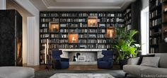 Poliform 2015 - House Day Interiors on Behance Living Room Lounge, Living Room Interior, Bookcase Wall, Bookshelves, Modern Style Homes, Home Libraries, House 2, Luxury Apartments, Home Remodeling