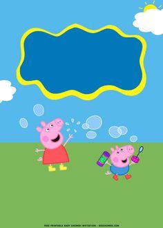 Peppa Pig Baby, Cumple Peppa Pig, Peppa Pig Background, Cumple George Pig, Pig Baby Shower, Invitacion Peppa Pig, Peppa Pig Printables, Peppa Pig Birthday Invitations, Baby Shower Invitation Templates