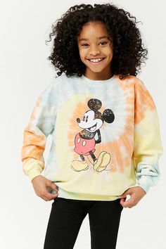 Product Name:Girls Tie-Dye Mickey Mouse Sweatshirt (Kids), Category:girls_tops, Cute Girl Outfits, Cute Outfits For Kids, Bff, Cut Out Skater Dress, Tie Dye Fashion, Forever 21 Shirts, Rompers For Kids, Mickey Mouse Sweatshirt, Tween Fashion