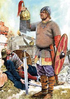 """Guerrero polaco de la época de la dinastía Piast contemplando su trofeo: el casco de un """"rus"""". Más en www.elgrancapitan.org/foro"""