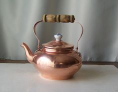 Vintage Copper Teapot Decorative  Wood Handle and by cynthiasattic