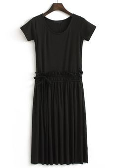 Black Pleated Drawstring Round Neck Cotton dress