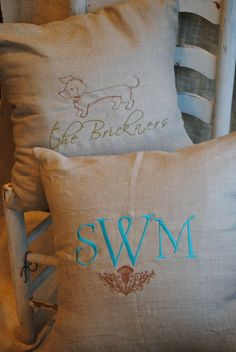 Personalized Linen Pillows by SewPersonalTN on Etsy, $42.00