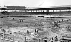 The stadium, known at the time by several names including Weeghman Park, was built in early 1914 in less than seven weeks. It had a single deck of seats that held 14,000 people. — Chicago History Museum photo 28 Baseball begins at Clark and Addison