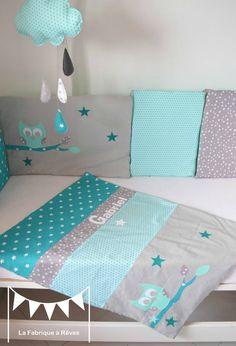 couverture bébé turquoise vert d'eau mint hibou étoiles prénom