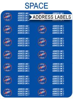 Free Space Party Address Labels via SIMONEmadeit.com