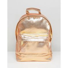 Mi-Pac Mini Metallic Backpack in Rose Gold ($38) ❤ liked on Polyvore featuring bags, backpacks, gold, zip top bag, day pack backpack, backpack bags, metallic bag and beige backpack