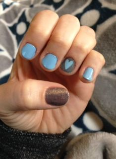blue, silver sparkle, grey and heart nails