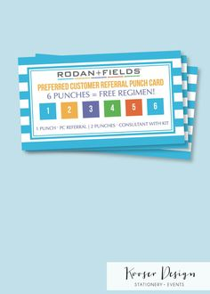 Rodan and Fields PC Perks Referral Punch Cards by KooserDesign