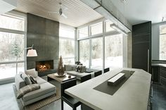 Interior design of an unconventional chalet  near Aspen, Colorado USA by Kaegebein Fine Homebuilding