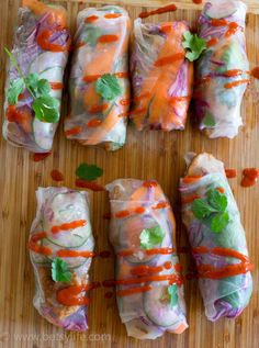 Pork Spring Rolls. A healthy recipe that's quick and easy for a weeknight dinner.