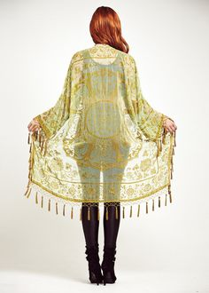 Velvet Fringe Kimono Jacket Golden Green Lace by shevamps on Etsy, £99.00