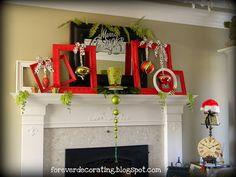 Christmas Mantel- cute frames