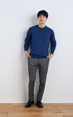 MUJI | WOOL SILK WASHABLE CREW NECK SWEATER | OGC CREW NECK L/S T SHIRT | OGC MIX DOUBLE JERSEY TUCKLESS TROUSERS