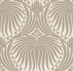 Lotus (BP 2011) - Farrow & Ball Wallpapers - An elegant artisanal lotus-flower in a repetitive design. Shown here in taupe water based paints - more colours are available. Please request a sample for true colour match.