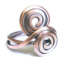 Copper Spiral Ring Wire Wrapped Ring Wire Wrapped Jewelry Handmade Wire Ring Jewelry Copper Jewelry Wire Jewelry Hammered Ring Wire Art. $38.00, via Etsy.
