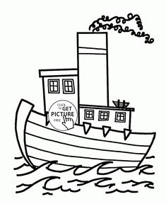 Nice Cartoon Steamship Coloring Page For Kids Transportation Pages Printables Free