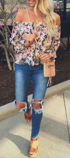 #summer #outfits / flower print blouse + ripped denim