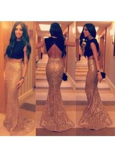 USD$129.00 - Two Pieces Prom Dresses Black and Golden Crew Neck Sequins Hollow Backless Fashion Mermaid Evening Gowns 2015 - www.babyonlinedress.com