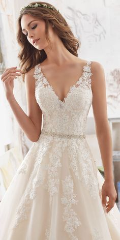 Blu by Morilee Martina 5510 - A-line lace wedding dress .-Blu by Morilee Martina 5510 – A-Linien-Brautkleid aus Spitze mit V-Ausschnitt – … Blu by Morilee Martina 5510 – A-Line V-Neck Lace Wedding Dress – … bride dress - Mori Lee Wedding Dress, Wedding Dress Organza, Dream Wedding Dresses, Bridal Lace, Wedding Dress Styles, Bridal Gowns, Wedding Gowns, Lace Wedding, 2017 Bridal