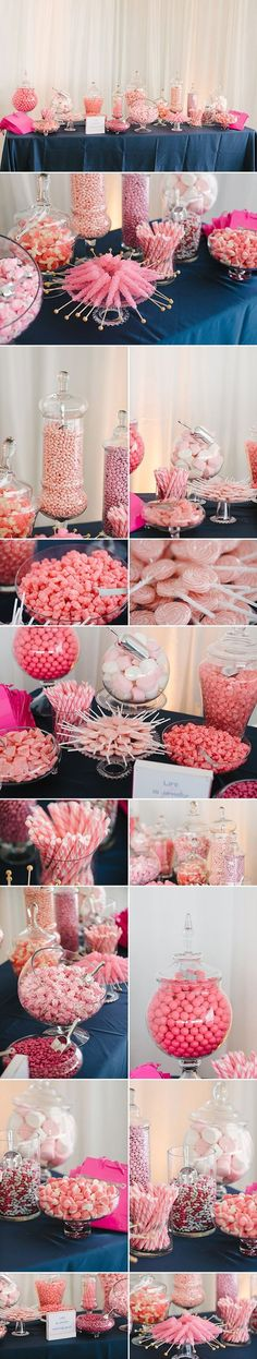 Pink Sweets Table ideas for your Quinceanera reception or baby shower or princess birthday party Sweet 16 Parties, Pink Parties, Birthday Parties, Birthday Table, Birthday Candy, 15th Birthday, Cake Birthday, Bar A Bonbon, Rose Bonbon