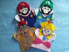 Mario, Luigi, Princes Peach and Bowser Felt hand puppets