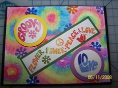 Groovy World-Tie Dyed card: SU Watercolor pencils, blender pens, circle punches