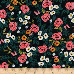 Cotton   Steel Rifle Paper Co. Wonderland Rayon Challis Painted Roses Black from @fabricdotcom  Designed by the famous Rifle Paper Co. for Cotton   Steel, travel down the rabbit hole with this Alice in Wonderland inspired collection, featuring whimsical prints with beautiful coordinating colorways. This lightweight rayon challis fabric has a smooth luxurious hand and soft, liquid drape. Perfect for fuller skirts
