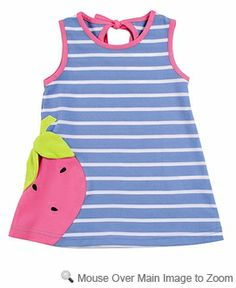 Florence Eiseman Girls Periwinkle Blue / Pink Strawberry Creek Dress