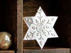 x5 Christmas Snowflake Ornament, Hanging Silver Snowflake Decoration, Embossed Metal