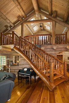 Stairs to Loft - windows in loft - log homes
