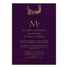 Peacock Regency in Purple Wedding Anniversary Cards