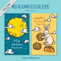 Hand drawn decorative brochures of mid-autumn festival  Free Vector