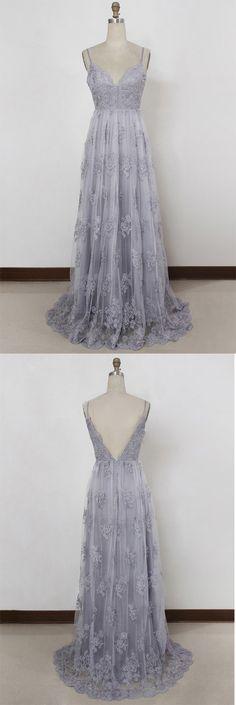 A Line #Prom Dresses,Spaghetti Straps #PromDresses,Sweep Train Prom Dress,Backless Prom Dresses,#Lavender Prom Dresses,#Tulle Prom Dress with #Appliques