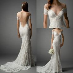 Sexy Off Shoulder Lace Wedding Dress 2015 Vintage Champagne Low Back Mermaid Short Sheer Sleeves Elegant Court Train Backless Bridal Dresses http://m.dhgate.com/product/simple-navy-blue-sweetheart-mermaid-evening/259126808.html#s1-1-1%7C3142485768