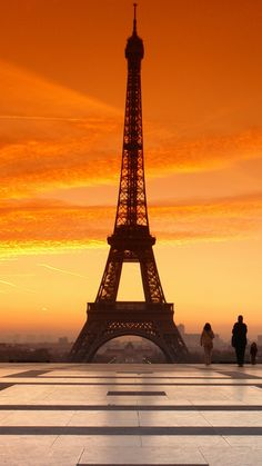 france, paris, evening, sunset, people, sky, square, eiffel tower