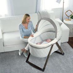 Amazon.com : Ingenuity FoldAway Rocking Wooden Bassinet - Grey : Baby