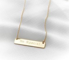 Gold name necklace Engraved gold bar necklace by HLcollection #gold #name #necklace