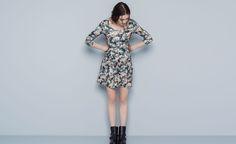 Pull&Bear - woman - dresses - flower neoprene dress - black - 05392308-V2015
