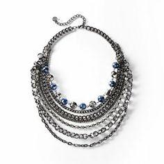 Simply Vera Vera Wang Jet Simulated Crystal and Bead Swag Necklace
