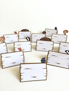 Woodland place cards - Set of 12 | forest animals food tents | Woodland birthday party | Woodland theme party candy bar decor.