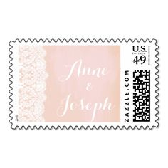 Peach and Lace Wedding Postage