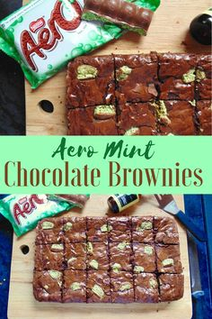 Aero Mint Chocolate Brownies; dense, fudgy and incredibly chocolatey brownies with fresh mint flavour, and studded with chunks of everyone's favourite bubbly bar!