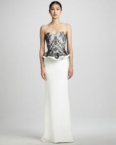 Strapless Lace-Top Gown by Notte by Marchesa at Neiman Marcus.