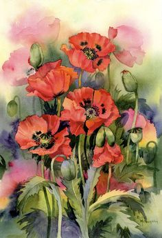Oriental Poppies - watercolour print art red painting flower poppy ...