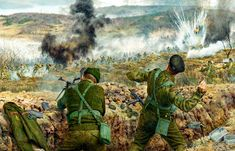 British Gloucestershire regiment defending a position against waves of Communist Chinese Volunteer Army at Imjin River, Korean War- by Steve Noon Military Diorama, Military Art, Military History, Ww2 History, British History, John Piper Artist, British Army Uniform, Ww2 Pictures, Spiritual Warfare