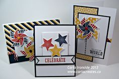 cards by Carla Ironside using CTMH Tommy paper.... see individual cards in her post