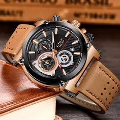 LIGE Brand Men Leather Strap Military Watches Men's Chronograph Waterproof Sport Date Quartz Wristwatch Gifts relogio masculino Mens Sport Watches, Watches For Men, Leather Men, Chronograph, Omega Watch, Men's Shoes, Mens Fashion, Luxury, Gifts