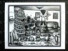 "Nativity Scene Christmas Cards; Pack of 10 cards (with envelopes) for $9.00. Hand-drawn (by me!) in black ink, printed on 4.25"" x 5.5"" white card stock, package bound with ribbon. Card shows family chaos on Christmas morning following gift-opening. Holiday message inside."